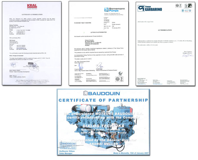 certificates of authorized dealers